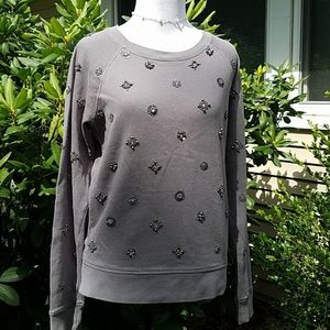 J Crew beaded embellished gray sweatshirt